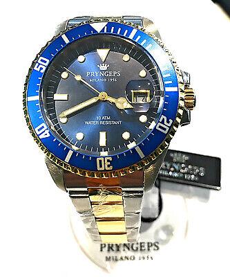 orologio Pryngeps Uomo submariner 40 mm corona vite acciaio bicolore ghiera blu | eBay