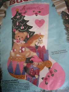 "Bucilla Christmas STOCKING FELT Applique Craft Kit,VICTORIAN HOLIDAY,82905,18"""