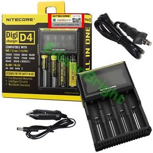 NEW-NITECORE-D4-battery-charger-18650-14500-18350-16340-RCR123A-w-Car-Charger
