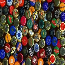 BEER BRANDED BOTTLE CAPS  SET OF 4 COASTERS RUBBER WITH FABRIC TOP