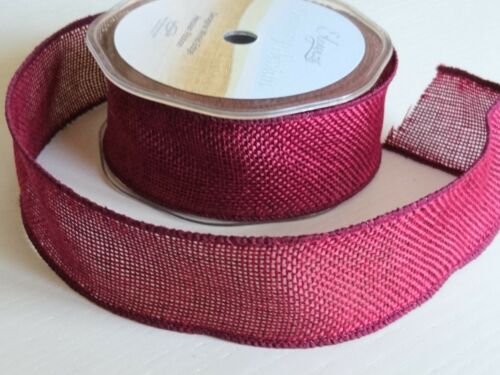 Hessian//Burlap Wire Edged Ribbon 38mm Wide in Lime Green or Burgundy Red