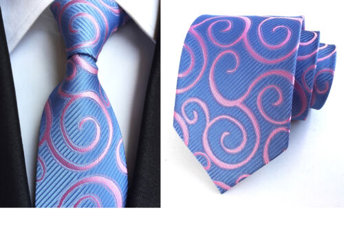 172KT NEW mens 100/% silk neck tie blue pink stripes wedding party prom ties