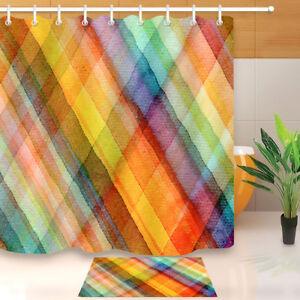 Fresh And Bright Color Stripes Shower Curtain Set Waterproof Fabric Bathroom Mat Ebay