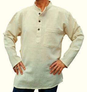 fair trade nepalesisch hanf baumwolle nehru gro vater ohne kragen kurta hemd m ebay. Black Bedroom Furniture Sets. Home Design Ideas