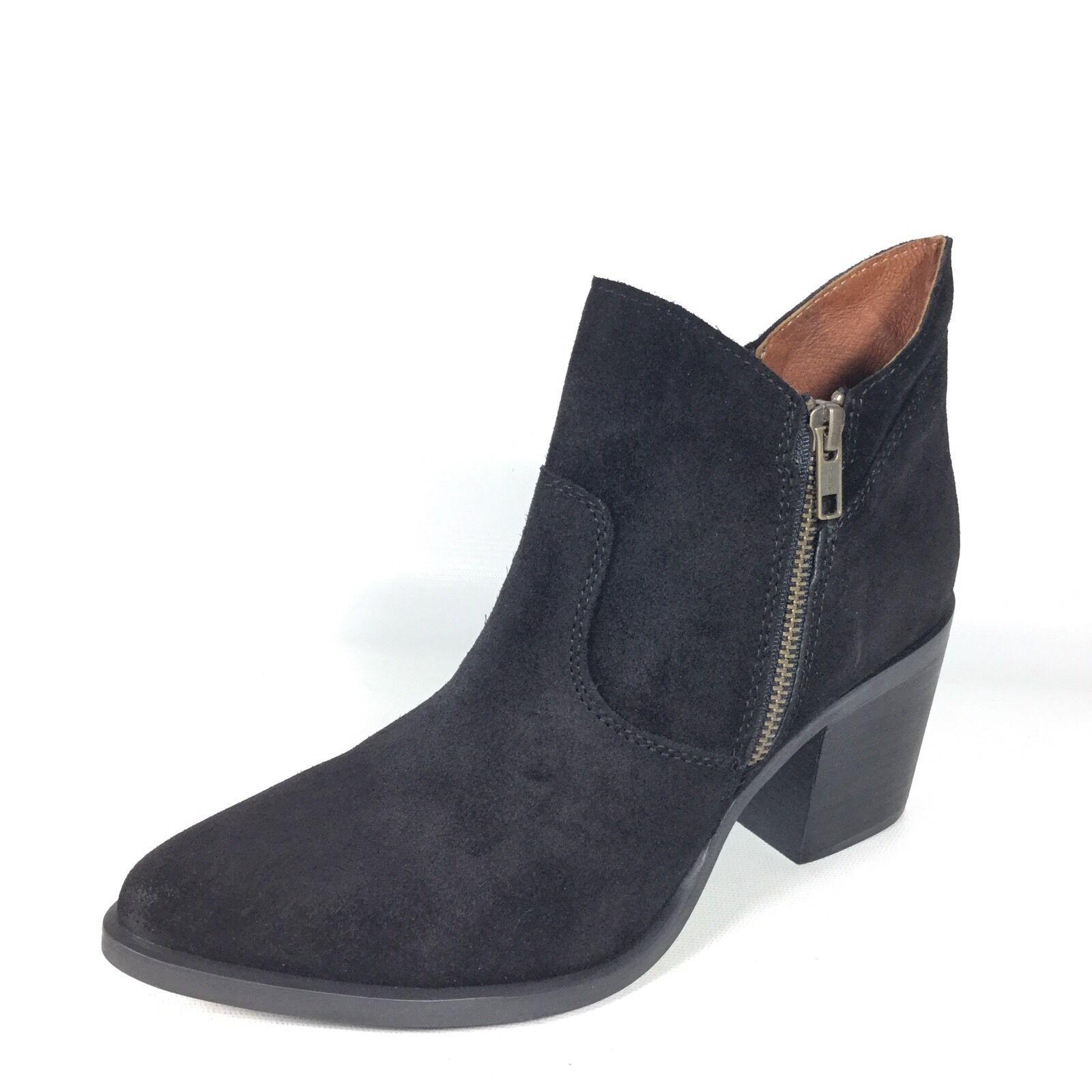 Steve Madden Pierce Women's Size 8 M Black Suede Block Heel Ankle Boots.