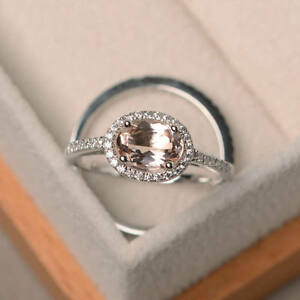 1 90 Ct Oval Cut Morganite Diamond Band Sets 14k Real White Gold