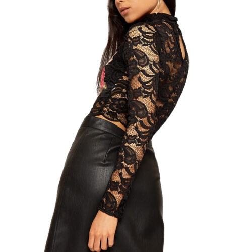 Womans Long Sleeve Floral Embroidered Lace Scallop Hem Party Hi Neck Crop Top BN