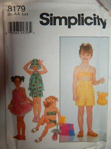 Kleid-Top-Shorts-Baden-Anzug-Hut-Tasche-Naehen-Muster-Groesse-2-3-4-Simplicity-8179