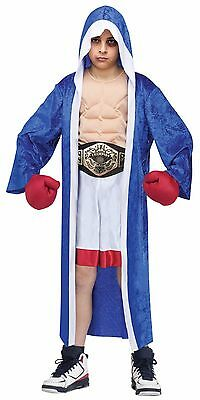Boys MUSCLE Boxer Costume Boxing Champion Outfit Robe Gloves Child Kids S M NEW