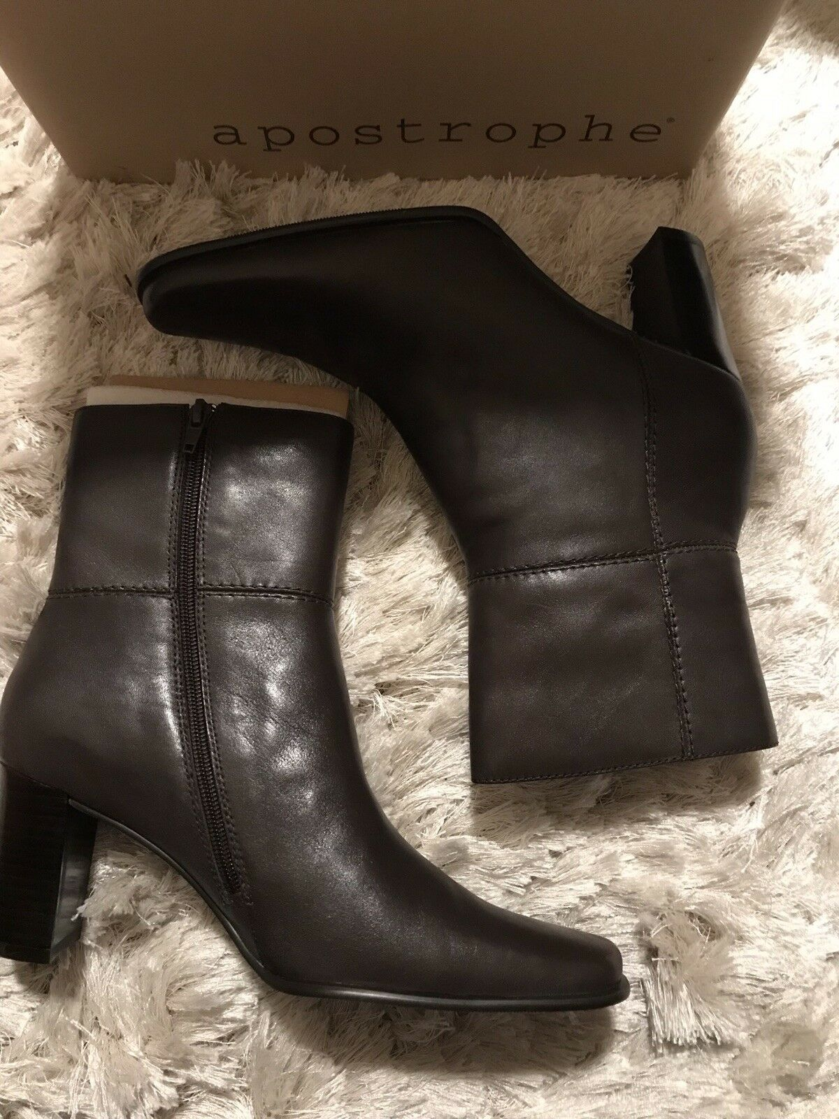 APOSTROPHE JENNA BROWN LEATHER ANKLE BOOTS 8.5M SHOES