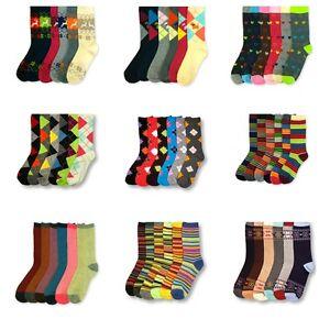 Women-039-s-6-Pairs-Crew-Assorted-Print-Fashion-Multi-Color-School-Socks-Size-9-11