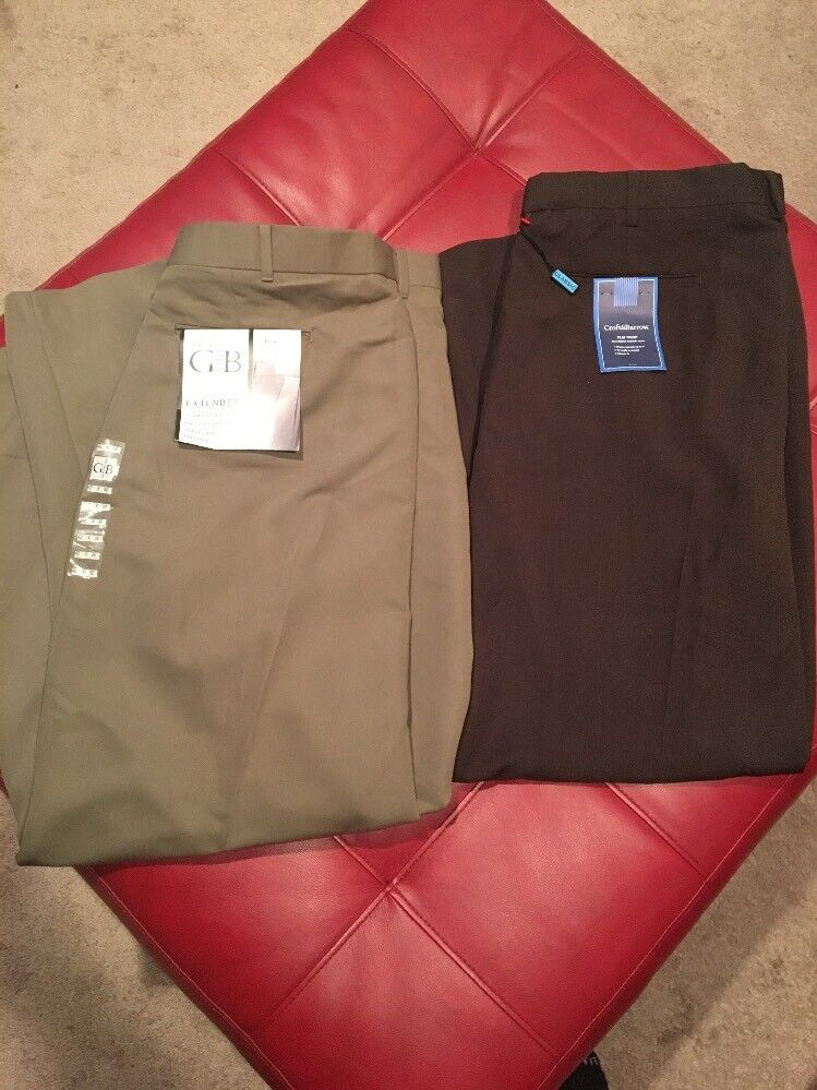 NWT Geoffrey Beene Croft Barrow Dress Pants Brown Mens 42x32 40x32 AA43