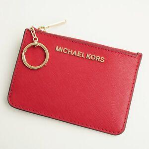 Details zu Michael Kors schlüssel etui kartenetui jet set travel key case chili neu