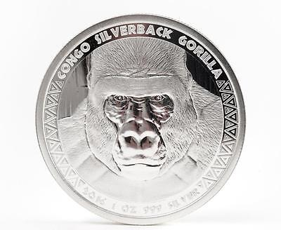 2017 1oz .999 Silver Congo Silverback Gorilla Prooflike Coin 5000 Francs #A367