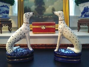 Stately-Pair-Figural-Porcelain-Dalmatian-Mantle-Dogs-English-Staffordshire-Style