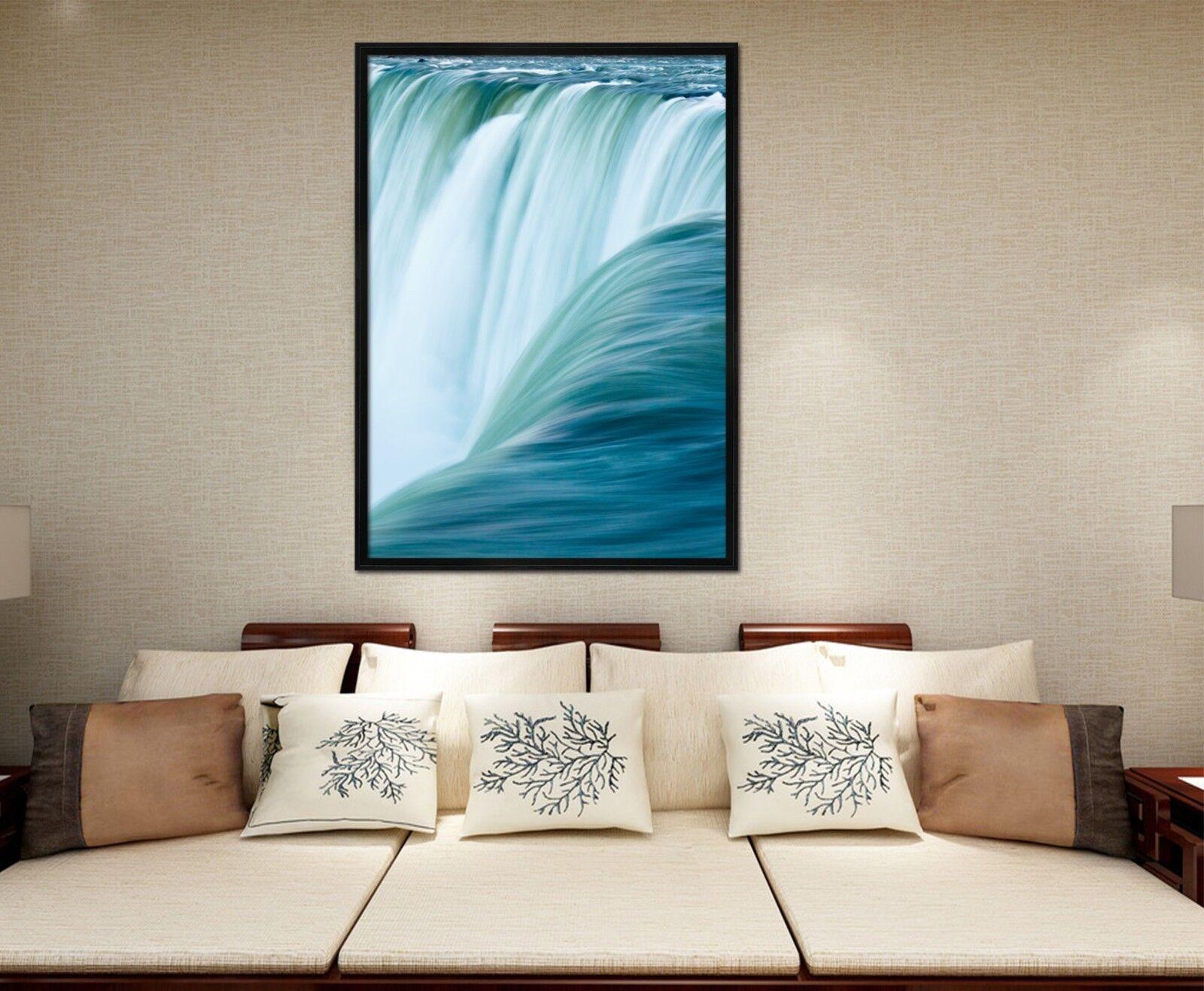 3D Blau Waves 4 Fake Framed Poster Home Decor Drucken Painting Unique Kunst