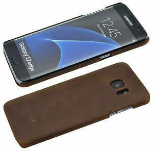 Echt-Leder-Backcover-Bumper-Hard-Case-COFFEE-Tasche-fuer-Samsung-Galaxy-S7-Edge