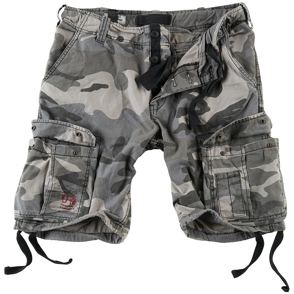 Surplus Airborne Vintage Cargos Mens Cotton Army Combat Shorts Washed Night Camo