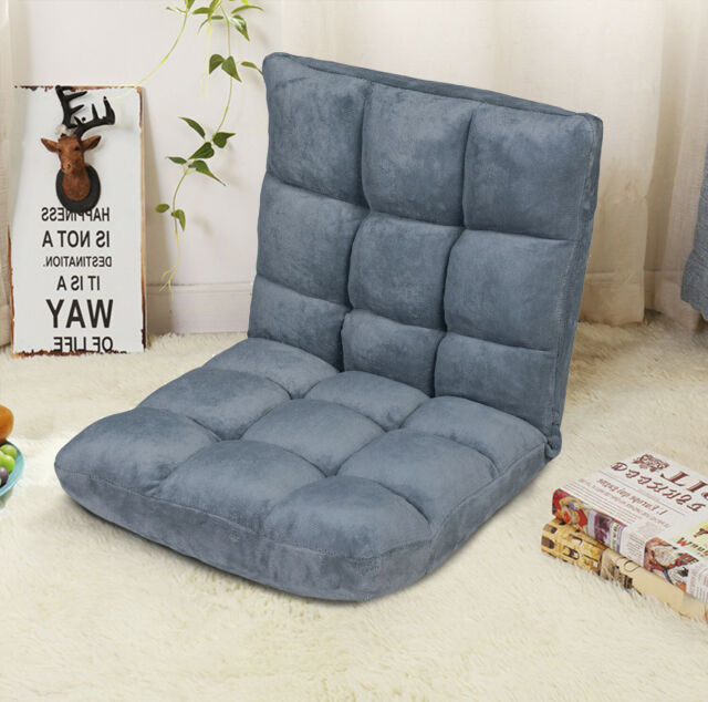 Costway Floor Chair Adjustable Blue Folding Lazy Sofa Lounger Bed Mat Cup Holder For Sale Online Ebay