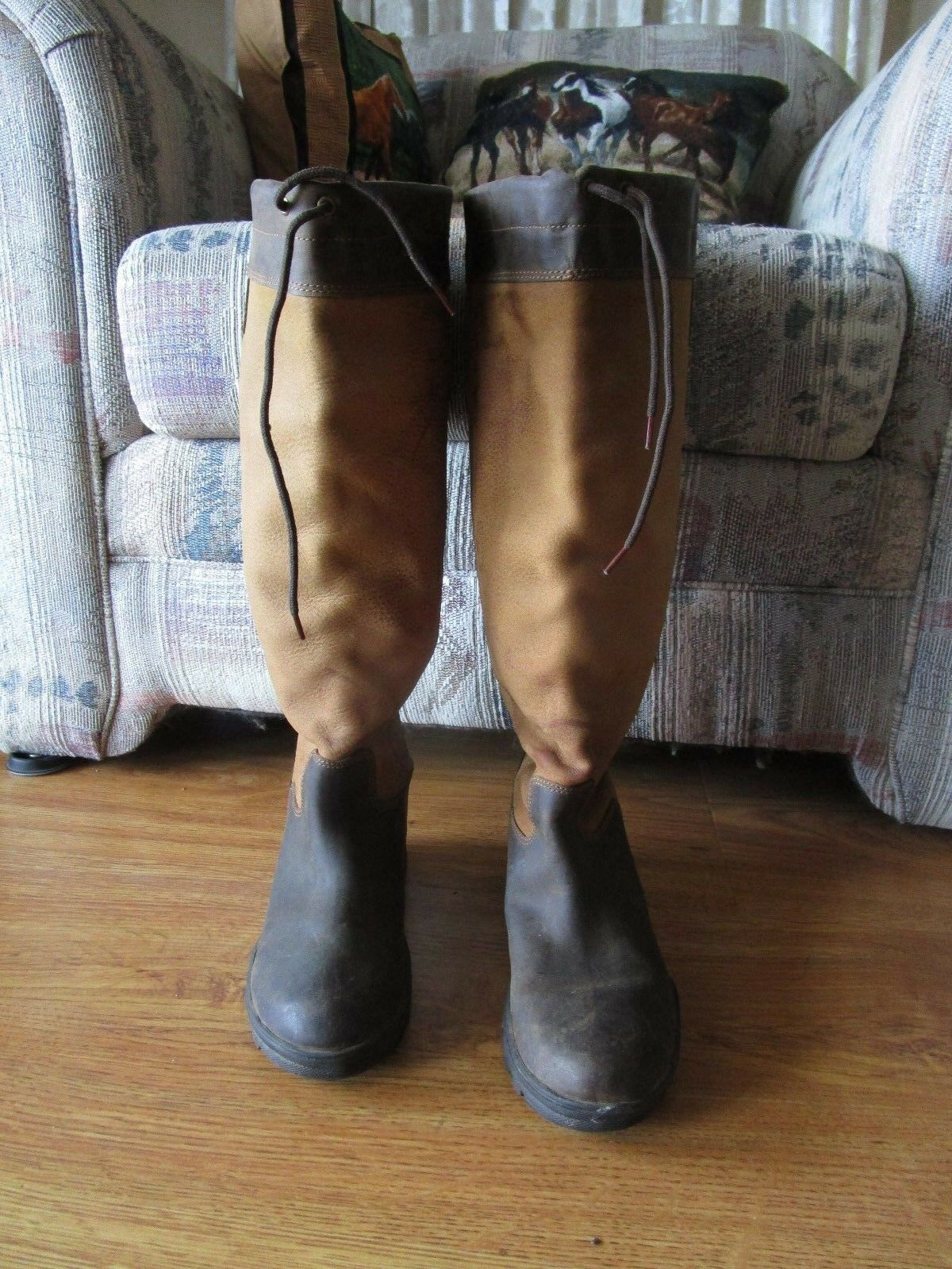 EQUESTRIAN TALL RIDING BOOT SIZE 6 XW LEATHER RUBBER NON SLIP EUC  BROWN TAN