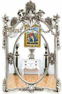 grand miroir baroque 136x85cm cadre en bois argente argent rococo rocaille ange ebay. Black Bedroom Furniture Sets. Home Design Ideas