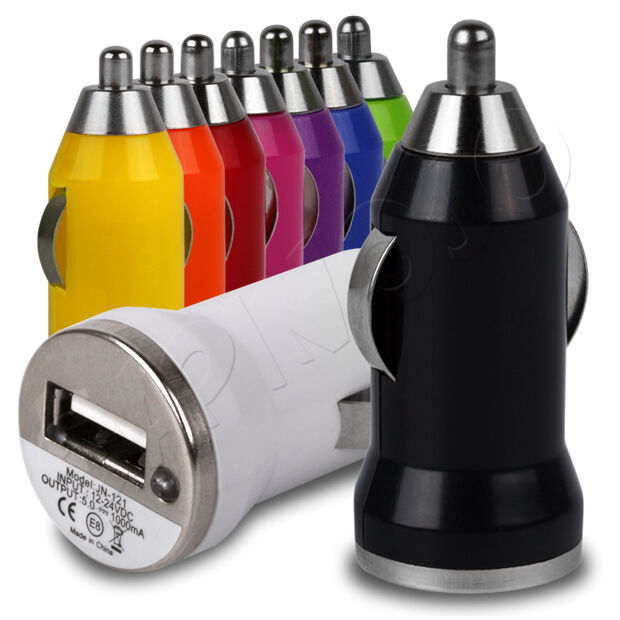 In-Car Mini Bullet Compact Travel USB Charger Plug Adapter For Your Mobile Phone
