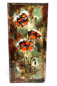 Vintage-Keramik-Wandplatte-Mohn-Blume-Bluete