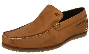 Good Price Base London WAITING Mens Waxy Leather Moccasin Loafers Tan