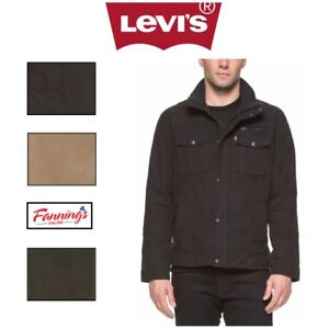 SALE-Levi-039-s-Men-039-s-Knit-Collar-Cotton-Canvas-Shell-Trucker-Jacket-Khaki-VARIETY