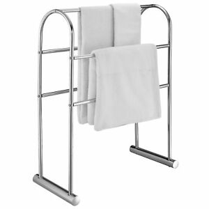 Chrome-Plated-5-Bar-Towel-Stand-Organizer-32-Inch-Freestanding-Bath-Drying-Rack