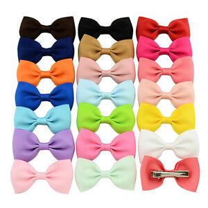 20X-Hair-Bows-Band-Boutique-Alligator-Clip-Grosgrain-Ribbon-For-Girl-Baby-Kid-fn