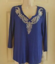 New Laura Ashley Cotton Size Petite Large Royal Blue w/Rhinestone Beading Top