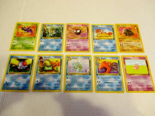 Base Set Great Condition #2 Fossil,1st Edit Lot of 10 Pokemon Cards Mixed Lot