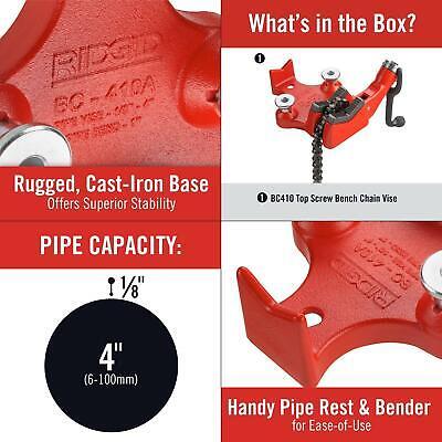 Ridgid BC410 Top Screw Bench Chain Vice 6-100mm Capacity 40195
