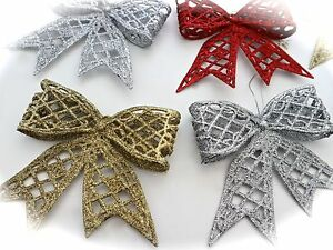 image is loading 4 glitter christmas tree decorations bows hanging bow