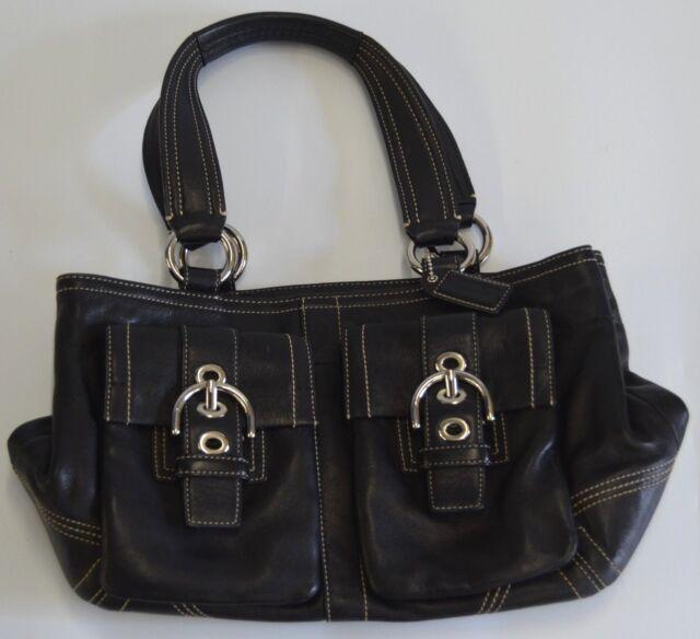 COACH H0620-F08A09 Soho Black Leather Buckle Satchel HandBag Purse with Pockets