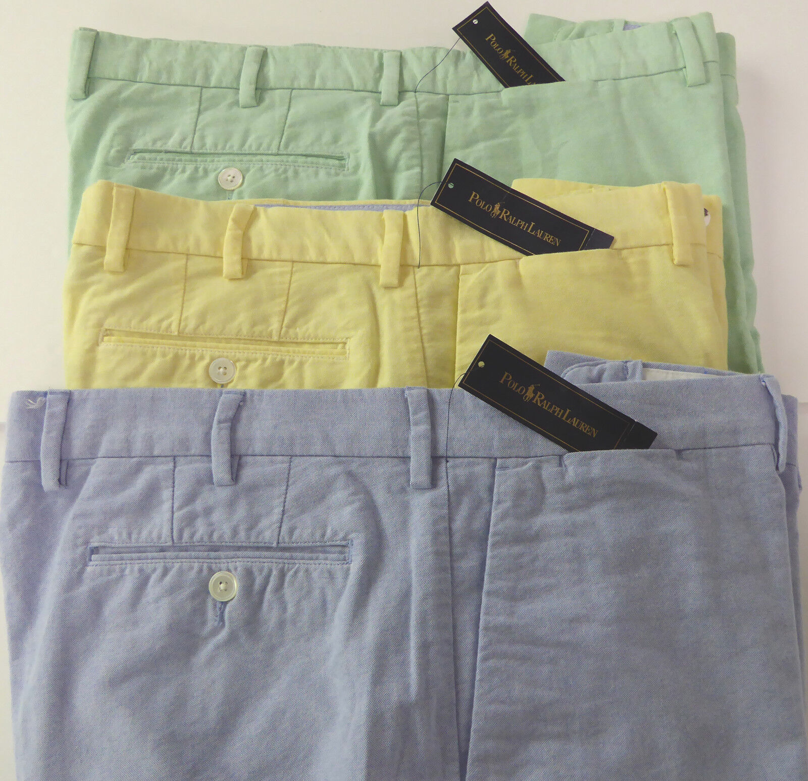 Polo Ralph Lauren Flat Front Oxford Cotton Shorts  3 colors Green bluee NWT