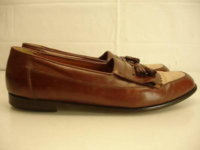 Mens 12 M Bostonian Florentine Italy Tassel Loafer Shoes Brown Leather Tan Linen