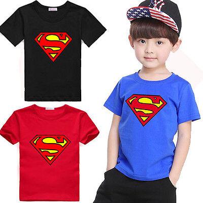 2017 Cotton Kids Boys Superman T-Shirt Short Sleeve Children Tees Costume Top CA