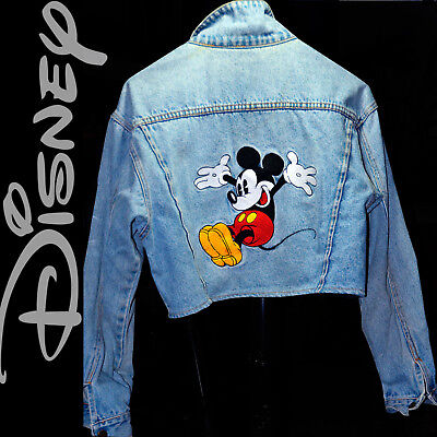 35d8d19eea ❤️❤️❤️ Disney Jumping Mickey Mouse Denim Jacket Embroidered Peace Love  Hearts M | eBay