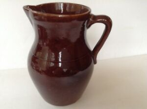 Vintage-Brown-Glazed-Pottery-Stoneware-Pitcher-Marked-with-Star-on-bottom