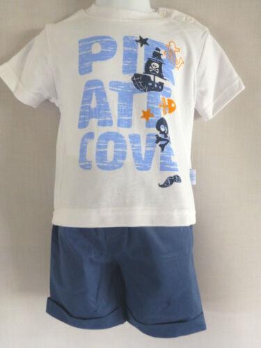 BABY BOYS 3 PIECE SET SHORTS SHIRT /& T SHIRT BLUE 6-12 Months