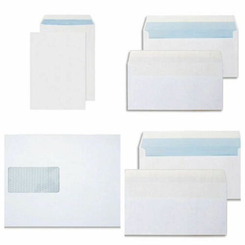 High Quality White Brown Self Seal Envelopes Plain Window DL C4 C5 C6 strong new