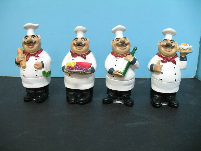 Italian Fat Chef Figurine 4 Pcs Set Bistro Decor Home Bar Waiter For Sale Online Ebay