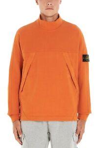 STONE-ISLAND-Mock-Neck-Pullover-Sweatshirt-Orange-100-Cotton-Medium-RRP-275