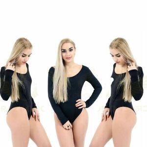 4c472d20905b Women Ladies Celebrity Style Scoop Neck Long Sleeve Stretch Bodysuit ...