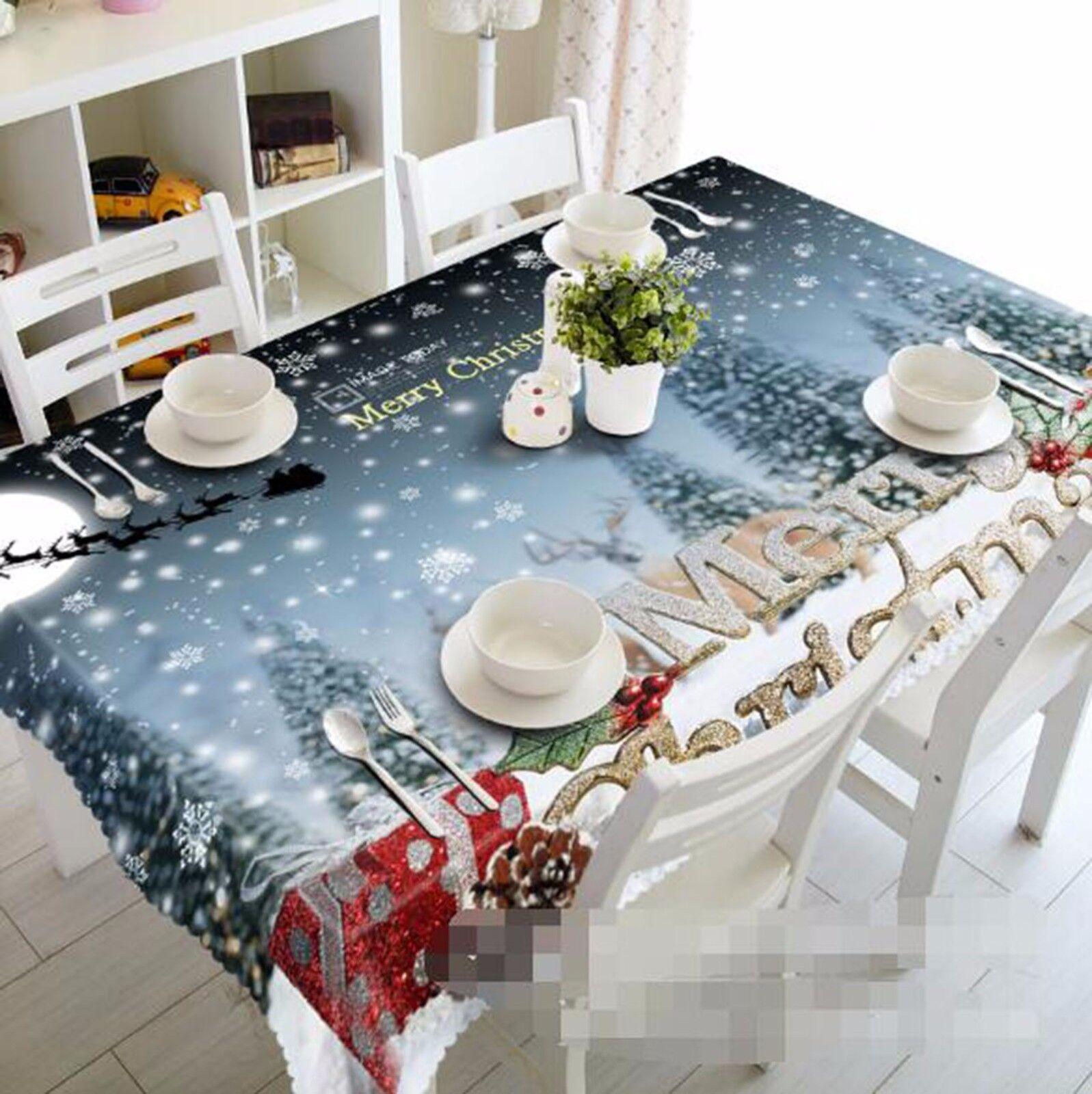 3D Neige 44 Nappe Table Cover Cloth fête d'anniversaire AJ papier peint Royaume-Uni Citron
