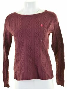 JACK-Wills-da-Donna-Girocollo-Maglione-Pullover-UK-14-MEDIUM-Bordeaux-Lana-D-039-Agnello-ML07