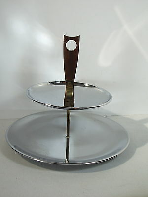 Serving Tray Two Tier Chrome Stainless Steel Teak Handle Mid Century Cupcakes
