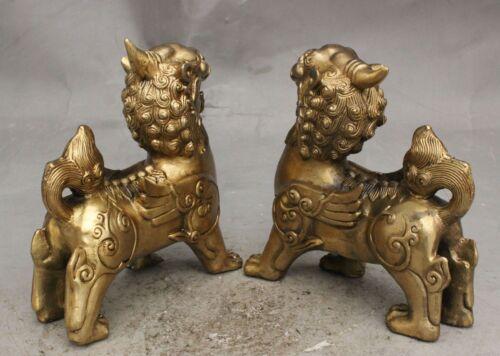China FengShui Copper Brass Guardian Wealth PiXiu Brave troops Best Piar Statue